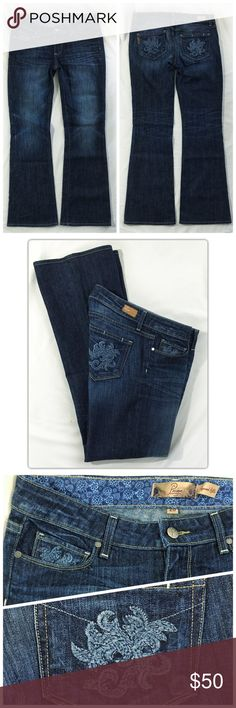 """Paige Premium Denim Hollywood Hills Bootcut sz 28 Brand: Paige Premium Denim Style: Hollywood Hills (205966) Wash: Rebel Without a Cause (WA253) Size: 28 Regular Material: 98% cotton, 2% spandex (stretch) Care: Machine wash MSRP: $179.00  Fit guide Waist: 15"""" / 38cm Rise: 8"""" / 20cm mid rise Inseam: 31"""" / 79cm Thigh: 11"""" / 28cm Knee: 7.5"""" / 19cm Leg opening: 9.5"""" / 24cm  A mid rise boot cut that is slim through the hips and thighs while maintaining a classic boot cut shape. Paige Jeans Jeans…"""
