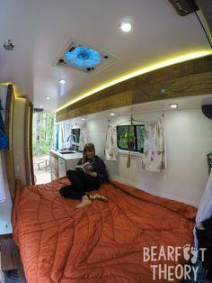 The bed in my 4x4 Mercedes Sprinter Camper Van
