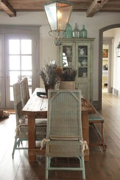 Wood Farm Table in Rustic Dining Room