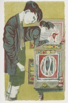 Art Room. Lithograph by Robert Tavener, c 1950