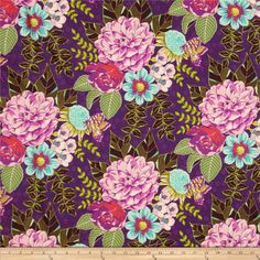 Michael Miller Emma's Garden Garden Bouquet Violet from @fabricdotcom  Designed by Patty Sloniger for Michael Miller, this cotton print fabric is perfect for quilting, apparel and home decor accents. Colors include black, purple, green, turquoise, red and pink.
