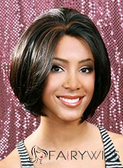 Shinning Short Wavy Black No Bang African American Lace Wigs for Women 12 Inch