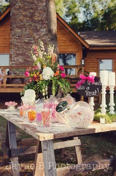 Candy Table at Outdoor Wedding  by Jayne B Photography
