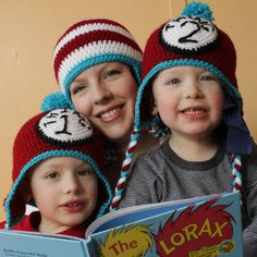 Dr. Seuss crochet hat free patterns in multiple sizes from Micah Makes
