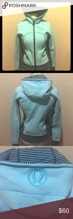 Light blue lululemon Scuba Hoodie!!!💘 Light blue with dark blue stripes lululemon Scuba Hoodie!!!! This I bought on e bay and never wore. It's in great condition! Needs loving home!! lululemon athletica Tops Sweatshirts & Hoodies