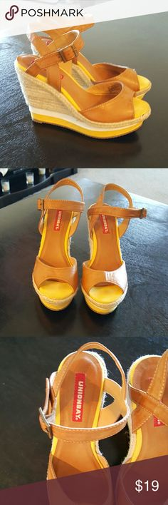 Union Bay Yellow And Tan Wedge Sandals Union Bay sling back open toe wedge summer sandals. Buckles ridge bottom. Great shape good condition .. like new UNIONBAY Shoes Wedges