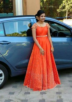 Orange Designer Gown is part of Designer gowns - Indian Designer Outfits, Designer Gowns, Indian Outfits, Mode Bollywood, Frock Models, Long Gown Dress, Long Frock, Gown Party Wear, Party Gowns