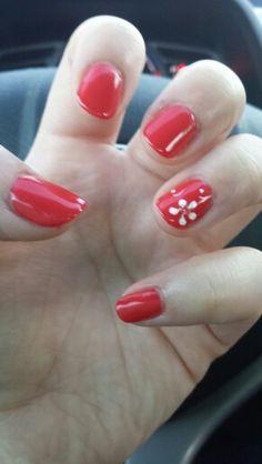 I love my OPI Cajun Shrimp & flower design gel nails!