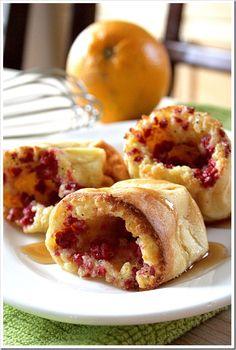 raspberry-orange popover with a maple, raspberry, or cream cheese syrup/glaze option