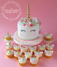 My first ever unicorn cake. I wonder who started off this craze? Tall vanilla sponge, with matching chocolate cupcakes with white chocolate buttercream. Unicorn Themed Birthday Party, Unicorn Party, 5th Birthday, Birthday Ideas, Cake Birthday, Unicorn Birthday Cakes, Unicorn Themed Cake, White Chocolate Buttercream, Chocolate Cupcakes