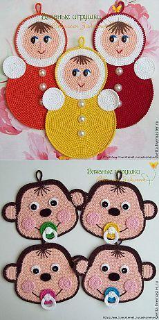 Crochet Patterns Modern Potholders of Svetlana Zabelina. Just Photo Crochet Motifs, Crochet Potholders, Crochet Flower Patterns, Baby Knitting Patterns, Crochet Designs, Crochet Hot Pads, Crochet Towel, Cute Crochet, Crochet Kitchen