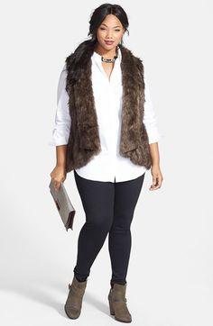 Sejour Vest, Stretch Poplin Shirt & Ponte Knit Leggings (Plus Size)  available at #Nordstrom