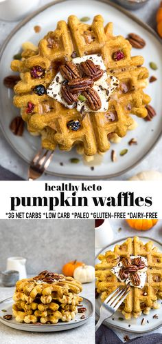 These Keto Pumpkin Waffles are soft, thick, fluffy with a crispy outside and so easy to make in just one bowl with no blender required. Just 3g net carbs & made with low carb, paleo-friendly, grain-free, flourless, gluten free & sugar free ingredients and come together in under 20 minutes. They're the perfect healthy pumpkin waffles for fall and make a delicious low carb breakfast, weekend / Sunday brunch for Thanksgiving and all through the holidays! #keto #pumpkin #pumpkinwaffles Breakfast Bread Recipes, Breakfast Snacks, Low Carb Breakfast, Best Breakfast, Pumpkin Waffles, Pancakes And Waffles, Delicious Desserts, Dessert Recipes, Brunch Dishes