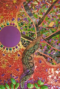 """The We See Tree by Susan Crocenzi. 14 x 10"""" wall-hanging. Handmade polymer-clay tile, metal findings, leather cord, rad reflective dichroic glass disc, tempered glass, stained glass, ceramic, Italian millefiore, ball chain, and the kitchen sink"""