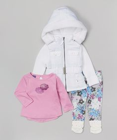 Another great find on #zulily! White Hooded Jacket Set - Infant, Toddler & Girls by OK Kids #zulilyfinds