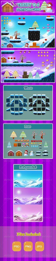 2D Tileset Platform Game 6 — Photoshop PSD #pixel #snow • Available here → https://graphicriver.net/item/2d-tileset-platform-game-6/6907917?ref=pxcr