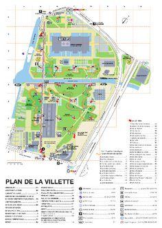 The Parc de la Villette map - Map of The Parc de la Villette (France) Parc La Villette, La Villette Paris, Facade Architecture, Landscape Architecture, Landscape Design, Washington Dc Attractions, Bernard Tschumi, Underground Map, Landscaping