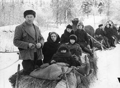 Escape in Winter - horse drawn sleighs loaded with evacuees Iconic Photos, Old Photos, History Of Finland, Finland Country, Finnish Language, Winter Horse, Dna Results, Germany Vs, Photo Story