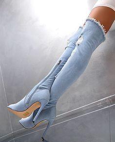 HOHE OVERKNEE STIEFEL Stretch Damen NEU 2018 Jeans Boots Q49 Schuhe High Heels