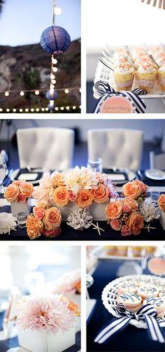 Frescura y alegría para una velada al atardecer | Azul y durazno - colores para bodas