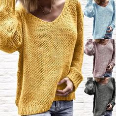 V Neck Long Sleeve Plain Knitting Casual Sweaters – Women Fashion Loose Sweater, Long Sleeve Sweater, Pull Crochet, Fashion Magazin, Casual Sweaters, Sweater Fashion, Creations, Couture, Shirts