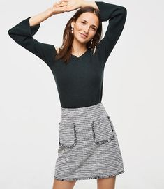 Fringe Tweed Pocket Shift Skirt