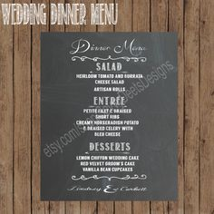 Custom Wedding Dinner Menu Chalkboard Sign- Printable Chalkboard Dinner Menu