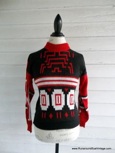 Vintage Sweater  1980s Tribal Sweater by runaroundsuevintage, $34.00