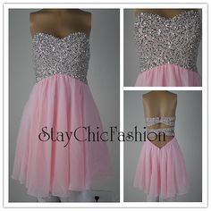 Sparkly Top Pink Short Open Back Chiffon Prom Dress by EveryProm, $135.00