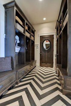 Fantastic #entryway with chevron wood flooring details! #modern