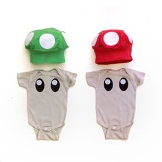 For your little twin Nintendo geeks. The one up & power up mushroom costumes are here! Ive hand dyed the bodysuits to a light skin color