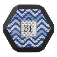 Funky Wavy Blue White Stripe Monogram Black Bluetooth Speaker - monogram gifts unique custom diy personalize