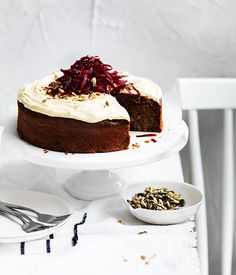spiced beetroot seed cake with rapadura frosting.