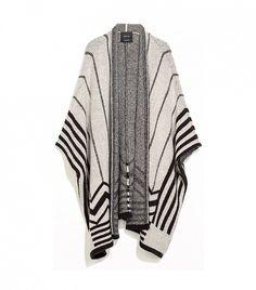 Zara Intarsia Poncho Cardigan in Sand/Black // #Shopping