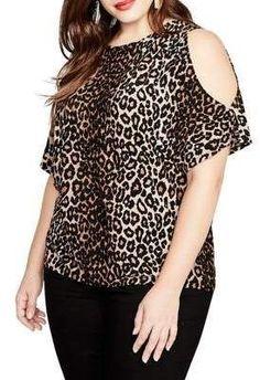 Rachel Rachel Roy Trendy Plus Size Cold-Shoulder Leopard-Print Top - Brown Stylish Plus, Trendy Plus Size, Plus Size Tops, Leopard Print Outfits, Leopard Print Top, Plus Size Dresses, Plus Size Outfits, Curvy Fashion, Plus Size Fashion
