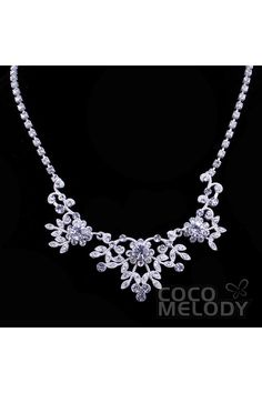 Latest Silver Cloud Alloy Crystal Wedding Necklace and Earrings Jewelry Set NS-J141A #weddingaccessories #jewelry #cocomelody