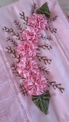 Wonderful Ribbon Embroidery Flowers by Hand Ideas. Enchanting Ribbon Embroidery Flowers by Hand Ideas. Ribbon Embroidery Tutorial, Silk Ribbon Embroidery, Embroidery Patterns, Hand Embroidery, Embroidery Supplies, Ribbon Art, Ribbon Crafts, Silk Flowers, Fabric Flowers