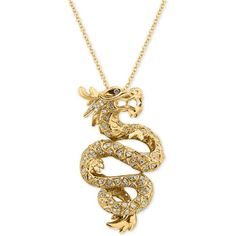 Effy Diamond Dragon Pendant Necklace (5/8 ct. t.w.) in 14k Gold ($2,210) ❤ liked on Polyvore featuring jewelry, necklaces, yellow gold, white gold jewellery, round pendant necklace, 14k necklace, yellow gold necklace and yellow gold pendant necklace