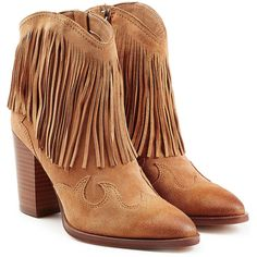 Sam Edelman Suede Ankle Boots ($119) ❤ liked on Polyvore featuring shoes, boots, ankle booties, beige, short cowboy boots, fringe cowgirl boots, western bootie, suede bootie and suede booties