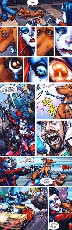 Harley Quinn rescuing a dachshund