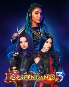 Descendants 3 Mal, Evie and Uma The Descendants, Disney Channel Descendants, Cameron Boyce, Mal And Evie, China Anne Mcclain, New Poster, Disney Villains, Disney And Dreamworks, Cebu