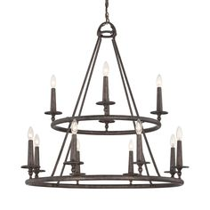 $890 Quoizel Voyager 36-in 12-Light Malaga Rustic Tiered Chandelier