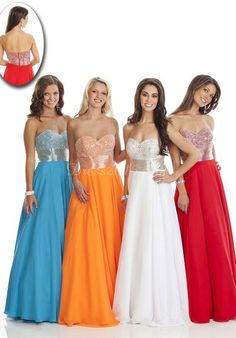Chiffon Empire Pleated With Paillette Prom Dress