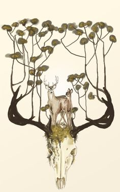 stag horns, artwork