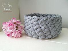 Crochet basket t-shirt yarn basket fabric round basket by Lulaor