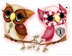 Owl Art Owl Painting Valentine Owl Art by enchantedezignstudio