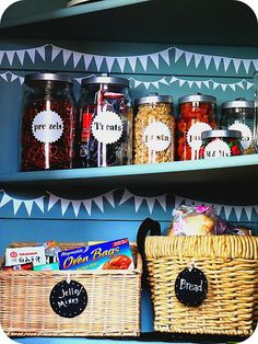 I love this vinyl pennant banner in the pantry.  This is an awesome pantry.