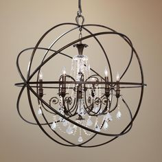 """Without crystal in great room. Solaris 40"""" Wide English Bronze Chandelier -"""