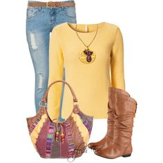 """""""Yellow Top with Jeans Outfit !"""" by stylisheve on Polyvore"""