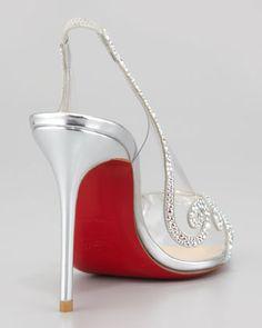 Christian Louboutin Au Hameau Clear Crystal-Swirl Red Sole Slingback